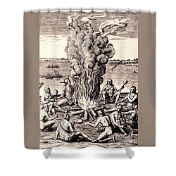 When They Returned From The War They Make Merry About The Fire Shower Curtain by Peter Gumaer Ogden
