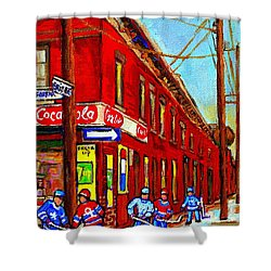 When We Were Young - Hockey Game At Piche's - Montreal Memories Of Goosevillage Shower Curtain by Carole Spandau