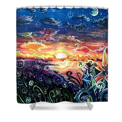 Shower Curtain featuring the painting Where The Fairies Play by Shana Rowe Jackson