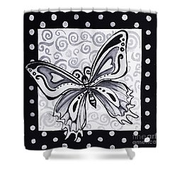 Whimsical Black And White Butterfly Original Painting Decorative Contemporary Art By Madart Studios Shower Curtain by Megan Duncanson