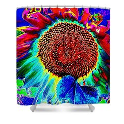 Shower Curtain featuring the digital art Whimsical Colorful Sunflower by Annie Zeno