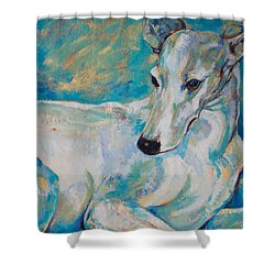 Whippet-effects Of Gravity 4 Shower Curtain by Derrick Higgins