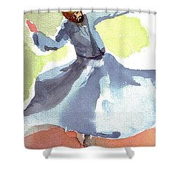 Shower Curtain featuring the painting Whirling Dervish by Faruk Koksal