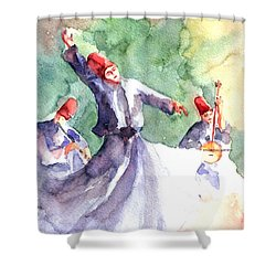 Shower Curtain featuring the painting Whirling Dervishes by Faruk Koksal