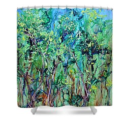 Whirlwoods Shower Curtain by Regina Valluzzi