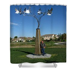 Whirlybird Shower Curtain by Peter Piatt