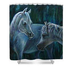 Shower Curtain featuring the painting Whispering... by Xueling Zou