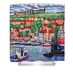 Whitby Harbour Shower Curtain by Ronald Haber