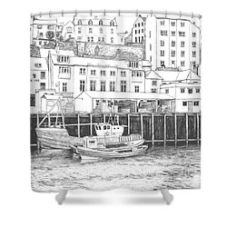 Whitby Harbour Shower Curtain by Shirley Miller
