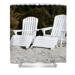 White Adirondack Chairs In The Sand Shower Curtain by Thomas Marchessault