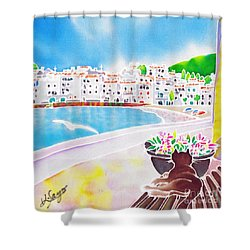 White And Blue 2 Shower Curtain