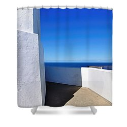 White And Blue To Ocean View Shower Curtain by Kaye Menner
