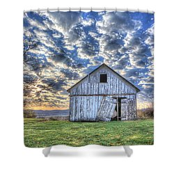 Shower Curtain featuring the photograph White Barn At Sunrise by Jaki Miller