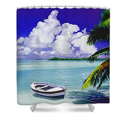 White Boat On A Tropical Island Shower Curtain