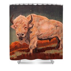 White Buffalo Nocturne Shower Curtain