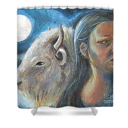 White Buffalo Portrait Shower Curtain