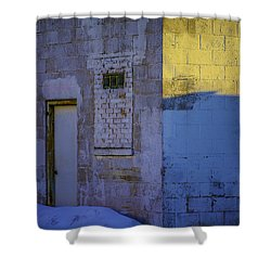 White Building Shower Curtain