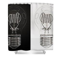 White Bulb Black Bulb Shower Curtain by Scott Norris