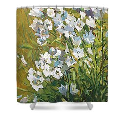 White Campanulas Shower Curtain