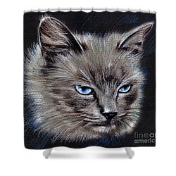 White Cat Portrait Shower Curtain