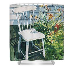 White Chair And Day Lilies Shower Curtain by Joy Nichols