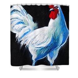 White Chicken Shower Curtain by Mona Edulesco
