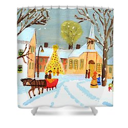 White Christmas Shower Curtain by Magdalena Frohnsdorff