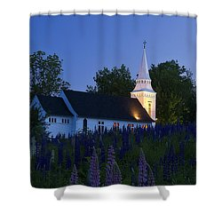 White Church At Dusk In A Field Of Lupines Shower Curtain