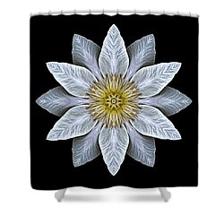 White Clematis Flower Mandala Shower Curtain