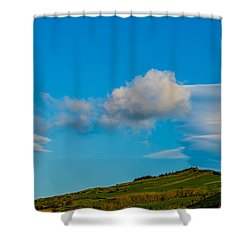 White Clouds Form Tornado Shower Curtain