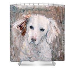White Dog # 2 Shower Curtain