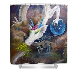 White Dragon Shower Curtain
