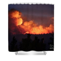 White Draw Fire First Night Shower Curtain by Bill Gabbert
