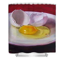 White Egg Study Shower Curtain