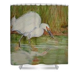 White Egret Wading  Shower Curtain