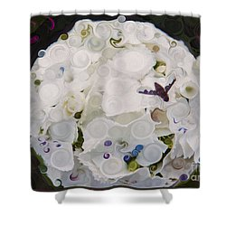 Shower Curtain featuring the painting White Flower And Friendly Bee Mixed Media Painting by Omaste Witkowski