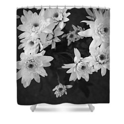 White Flowers- Black And White Photography Shower Curtain