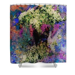 White Flowers In A Vase Shower Curtain by Lee Green