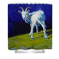 White Goat Painting Shower Curtain
