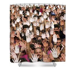 White Hands  - Manos Blancas Shower Curtain by Rafa Rivas