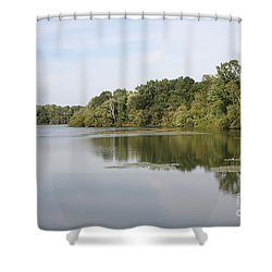 White Heron Lake Poconos Pa II Shower Curtain by John Telfer