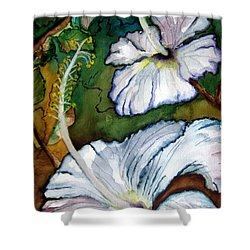 White Hibiscus Shower Curtain by Lil Taylor