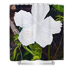 White Hibiscus Shower Curtain by Mike Robles