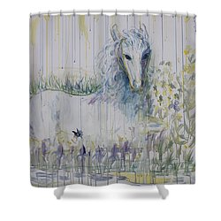 Shower Curtain featuring the painting White Horse In The Rain by Avonelle Kelsey
