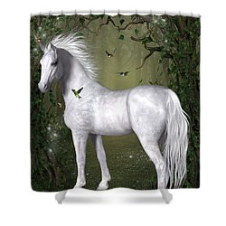 White Horse In The Woods Shower Curtain