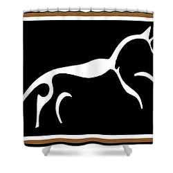 White Horse Of Uffington Shower Curtain by Vagabond Folk Art - Virginia Vivier