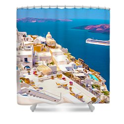 White Houses Of Santorini Shower Curtain