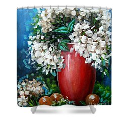 Shower Curtain featuring the painting White Hydrangeas by Patrice Torrillo