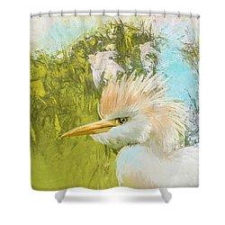 White Kingfisher Shower Curtain