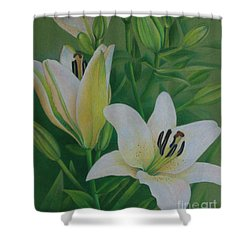 Shower Curtain featuring the painting White Lily by Pamela Clements